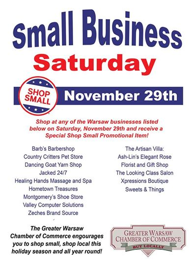 Upcoming events and activities: Small Business Saturday, Chili Tasting and Holiday Decorating Contest! Join In!