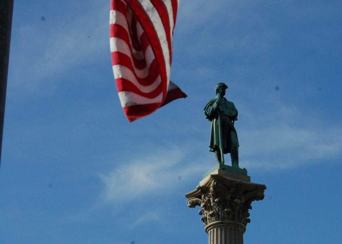 monument with flag